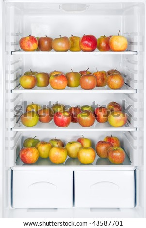 apples in the refrigerator - stock photo