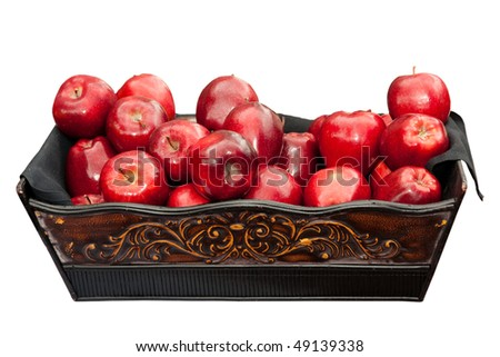 apples is a basket isolated on white - stock photo