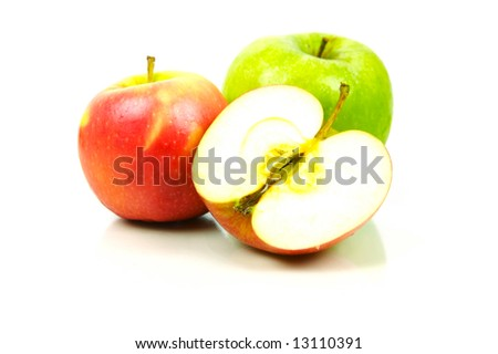 Apples isolated against a white background