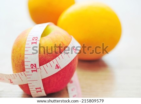 apples measured the meter, sports apples,diet control idea.