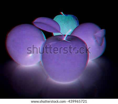 apples on a black background. 3D illustration. Anaglyph. View with red/cyan glasses to see in 3D.