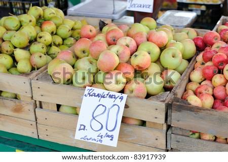 Apples on a farm market - stock photo