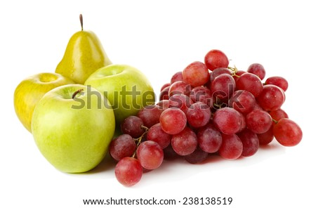 Apples, pears and grape isolated on white background