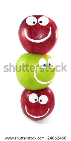 Apples-smiles symbolize themselves a command - stock photo