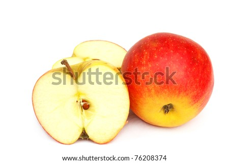 Apples varieties CHAMPION  isolated on the white background - stock photo