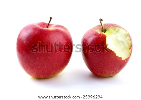 Apples: whole and with piece bitten off isolated on the white background - stock photo