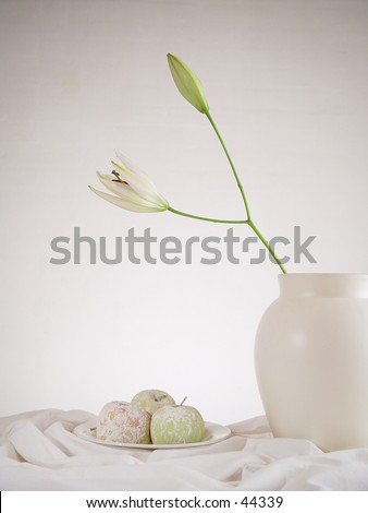 Apples with flower - stock photo