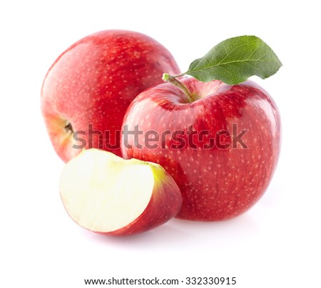 Apples with leaf - stock photo