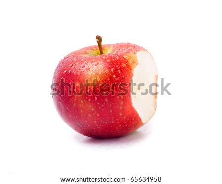 Apples with piece bitten off isolated on the white background - stock photo