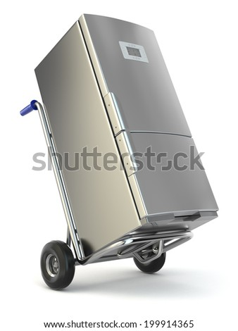 Appliance delivery. Hand truck and fridge. 3d - stock photo