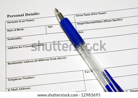 Application and  personal details form - stock photo