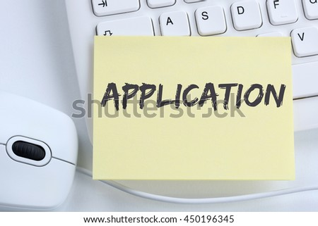 Application apply jobs, job working recruitment employees business concept office computer keyboard - stock photo