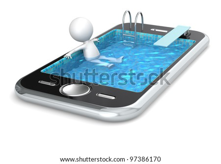 Application. 3D little human character Relaxing in a Smart Phone made like a Pool. People series. - stock photo