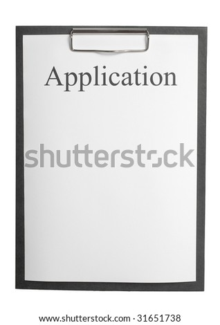 application document on a clipboard on white background - stock photo