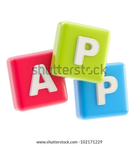 Application emblem made of cube app glossy symbols isolated on white - stock photo