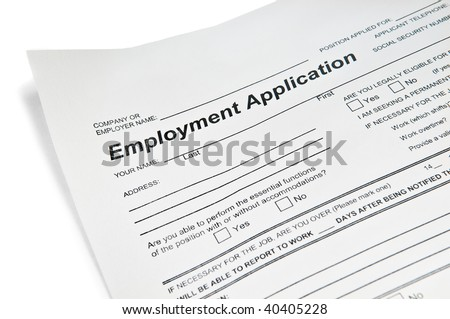 Application for employment over white - stock photo