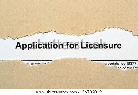Application for licensure - stock photo
