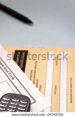 Application form for business day, focus on first plane on mobile phone - stock photo