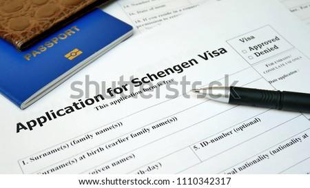 Application Form Schengen Visa Travel Immigration Stock Photo