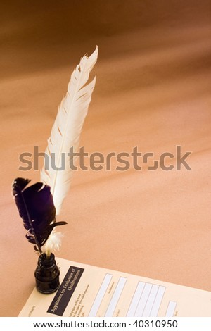 Application form with feather quill - stock photo