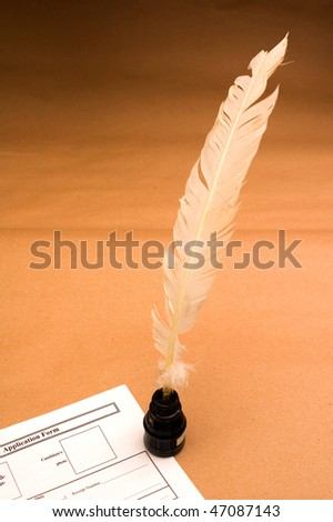 Application form with feather quill on parchment - stock photo