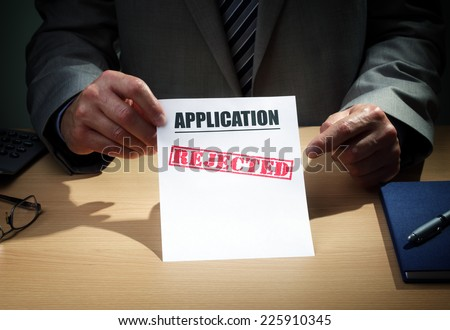 Application has been rejected concept for loan, mortgage, insurance claim form, finance or credit rejection - stock photo