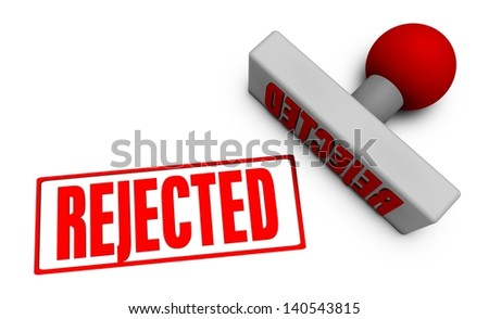 Application Rejected with Stamp Chop on White - stock photo