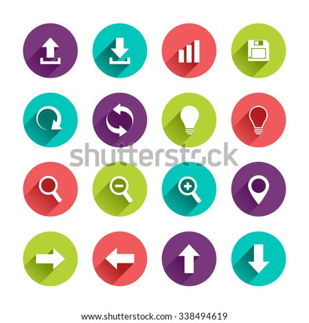 Application  Web Icons Set in Flat Design with Long Shadows on circle buttons with upload download arrows up down left right lamp zoom map pointer diagram floppy disk signs - stock photo