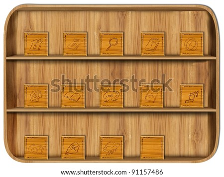 Application Wooden with application icons - stock photo