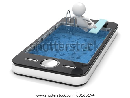 Applications. 3D little human character Jumping in to a Pool. Mobile Phone Edition - stock photo