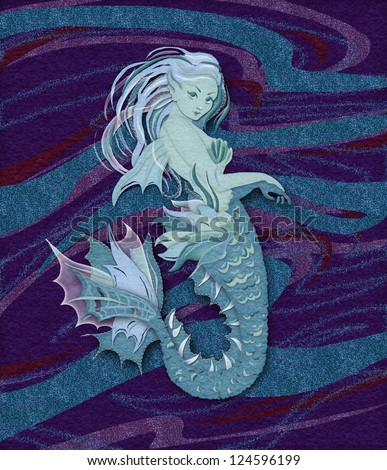 Applique felt and embroidery hand-made style illustration of a mermaid - stock photo