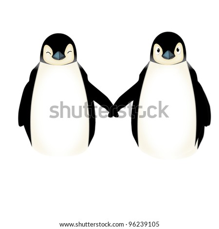 Applique' work in the form of penguin family from a fabric, isolated on white background. - stock photo