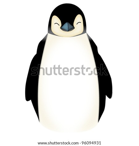 Applique' work in the form of Penguin from a fabric, isolated on white background. - stock photo