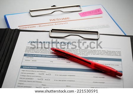 Apply for new job by Application and Resume Document - stock photo