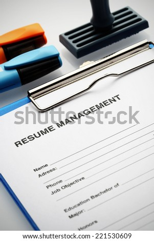 Apply for new job by Resume Document - stock photo