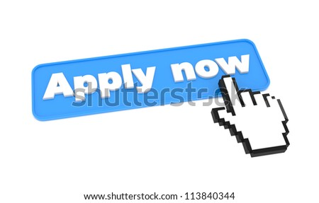 Apply Now Button with Hand Shaped Cursor on It. Isolated on White Background.