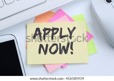 Apply now jobs, job working recruitment employees business concept desk computer keyboard - stock photo
