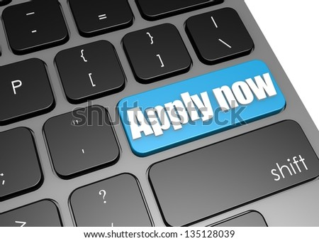 Apply now with black keyboard - stock photo