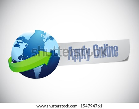 apply online globe world map illustration design over a blue background - stock photo