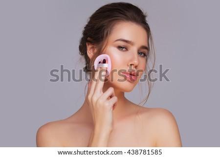 Applying powder - stock photo