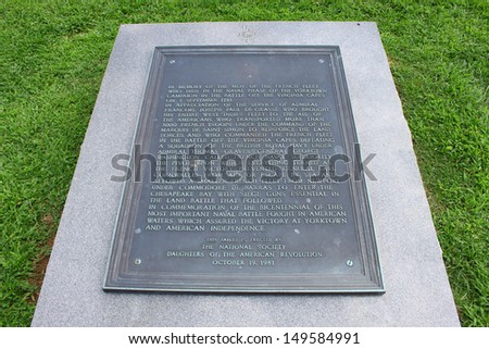 Appreciation name plaque for the French Fleet who made the supreme sacrifice in the Yorktown campaign, 1781 - stock photo