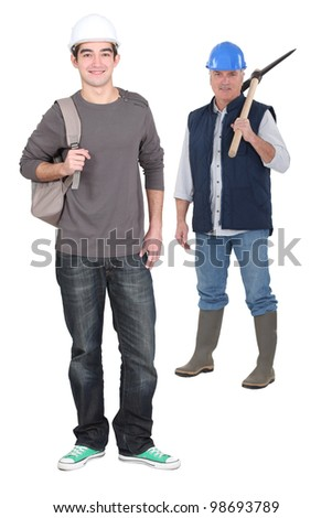 Apprentice arriving for first day of work - stock photo