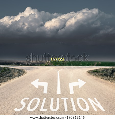 Approach an intersection against the upcoming storm - concept - stock photo