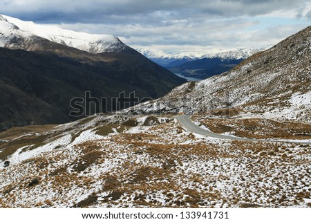Approach to Queenstown, New Zealand - stock photo