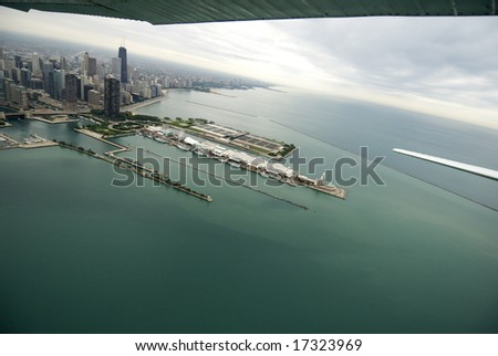 Approaching Chicago's Navy Pier from the south via airplane