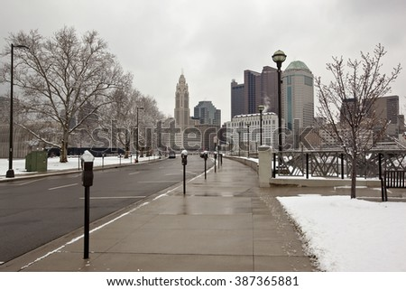 Approaching Columbus, Ohio on a snowy day - stock photo