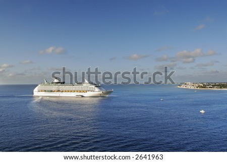 approaching cruise ship