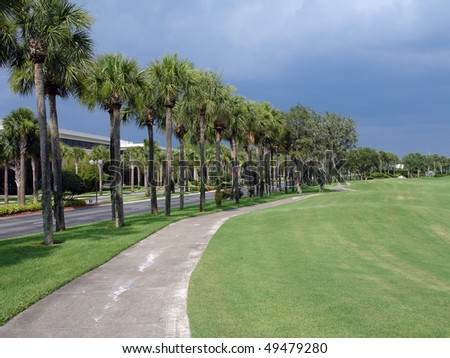 Approaching storm over golf course - stock photo