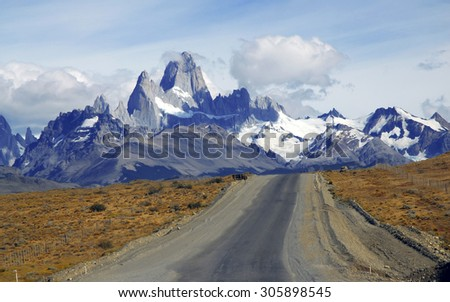 Approaching the Fitz Roy Massif in Patagonia, Argentina - stock photo