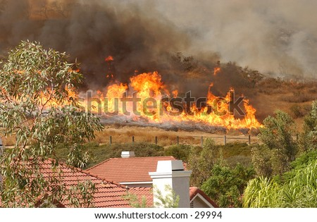 Approaching Wildfire - stock photo